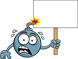 Cartoon Worried Bomb with a Lit Fuse Holding a Sign.