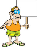 Cartoon Man Wearing a Swimsuit and Holding a Sign.