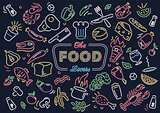 Neon food vector art illustration