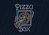 Neon pizza box sign