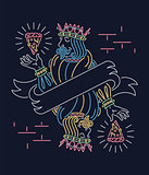 The king of pizza wallpaper neon sign design