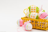 Soft Focus Easter Eggs with Art Pattern Isolated on White Background