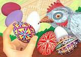 Easter design. Illustration with chicken and Easter eggs