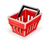Red empty shopping basket icon