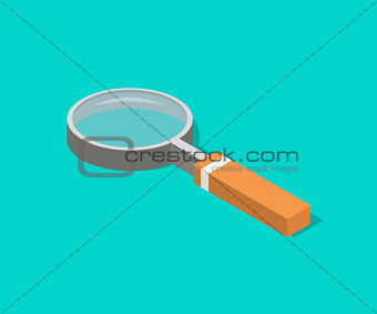 an isometric magnifying glass with flat style and shadow