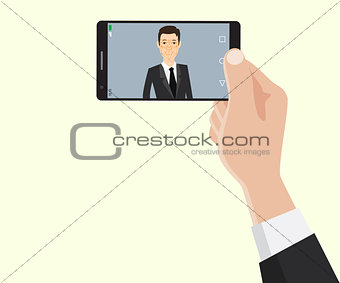 face recognition id technology with business man hand holding a smartphone