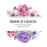 Wedding Invitation card design with flowers in watercolor style on white background.