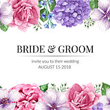 Wedding Invitation card with seamless flower border in watercolor style on white background. Template for greeting card.
