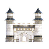 White and Blue Royal Castle isolated on white. 3d render