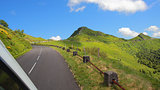 Driving on the road in Puy Mary, volcanic french mountains