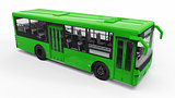 Small urban green bus on a white background. 3d rendering.