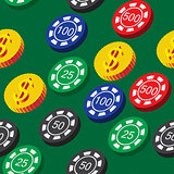 Poker Chips and Coins Seamless Pattern