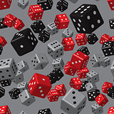 Red Grey Black Dice Seamless Pattern
