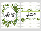 Set of Floral vector cards Design with green leaves - elegant greenery