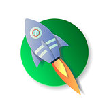 Paper art carving the rocket flying in space. Concept business idea, startup, exploration. Vector papercut illustration