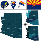 Map of Arizona with Regions