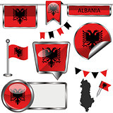 Glossy icons with flag of Albania