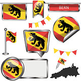 Glossy icons with flag of Bern