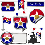 Glossy icons with flag of Dallas