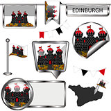Glossy icons with flag of Edinburgh