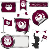Glossy icons with flag of Phoenix