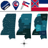 Map of Mississippi with Regions