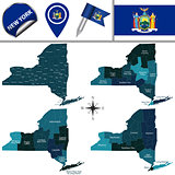 Map of New York with Regions