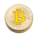 Golden cruptocurrency yellow bitcoin on white background.