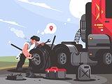 Truck driver is repairing car