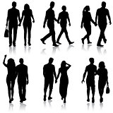 Set Silhouette man and woman walking hand in hand