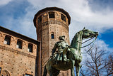 Bronze statue in front of Madama Palace, Turin, Italy