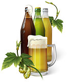 Beer mug, hops, three beer bottles