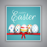 Easter egg card with red ribbon