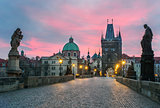 Sunset at Charlze bridge in Prague