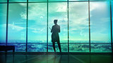 Silhouette of woman and corporate infographics