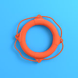 Lifebuoy on bright blue background