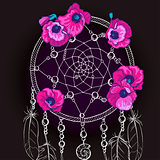 Hand drawn ornate Dream catcher with beautiful purple flowers on a black background. Vector illustration.
