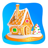 Gingerbread house decorated candy icing and sugar. Christmas cookies, traditional winter holiday xmas homemade baked sweet food vector illustration.