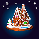 Gingerbread house decorated candy icing and sugar. Christmas cookies, traditional winter holiday xmas homemade baked sweet food vector illustration