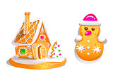 Gingerbread house decorated candy icing and snowman . Christmas cookies, traditional winter holiday xmas homemade baked sweet food vector illustration.