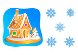 Gingerbread house decorated candy icing and a set of snowflakes isolated on white. Vector illustration