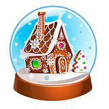 Magic Christmas snow globe vector illustration. Glass snowglobe gift with small house, winter pine tree and falling snow inside