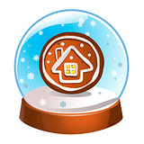 Snow globe with a winter house inside isolated on white background. Christmas magic ball. Snowglobe vector illustration. Winter in glass ball, crystal dome icon.