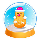 Snow globe with snowman inside isolated on white background. Christmas magic ball. Snowglobe vector illustration. Winter in glass ball, crystal dome icon