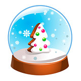 Snow globe with Christmas fir tree inside isolated on white background. Christmas magic ball. Snowglobe vector illustration. Winter in glass ball, crystal dome icon.