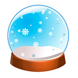 Snow globe with snowflakes inside isolated on white background. Christmas magic ball. Snowglobe vector illustration. Winter in glass ball, crystal dome icon
