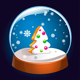 Snow globe with Christmas fir tree inside isolated on dark background. Christmas magic ball. Snowglobe vector illustration. Winter in glass ball, crystal dome icon.
