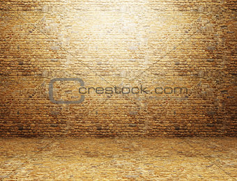 3D grunge room interior with brick wall and floor