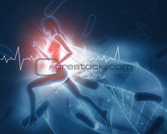 3D medical figure with female running and heart rate