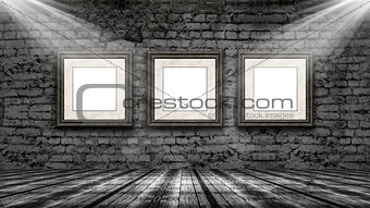 3D picture frames hanging in an old grunge interior